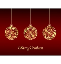 Gold Christmas balls on red background vector