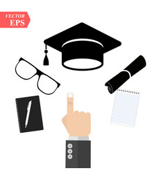 graduation cap and diploma black web icon a hand vector image