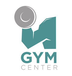 Gym center promotion banner big mans arm holds a vector