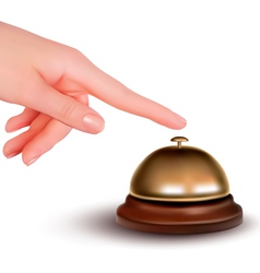 Hand ringing the bell to call vector image