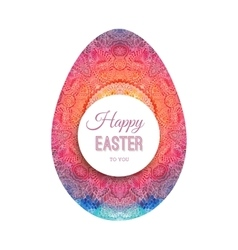 Happy Easter greeting card with watercolor egg vector image