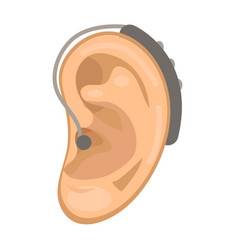 Hearing aid icon flat style ear on a white vector