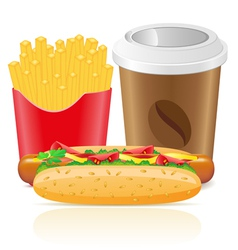 Hotdog fries potato and paper cup with coffee vector