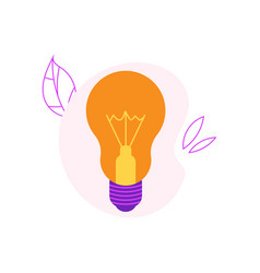 Incandescent light bulb flat icon with yellow vector