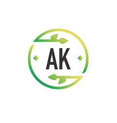 Initial letter ak nature logo design template vector