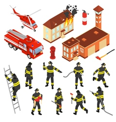 Isometric fire department icon set vector