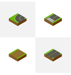Isometric way set of footpath down footpassenger vector