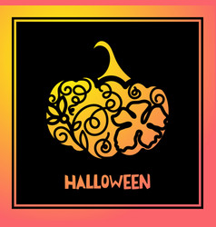Laser cutting template pumpkin for halloween vector