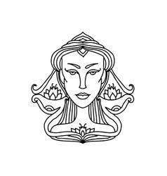 libra girl portrait zodiac sign for adult vector image