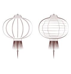Line art chinese lantern vector