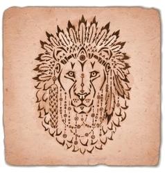 Lion in war bonnet hand drawn animal vector