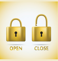 Locked and unlocked padlock gold text open close vector
