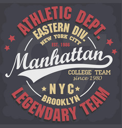 Manhattan t-shirt graphics new york athletic vector