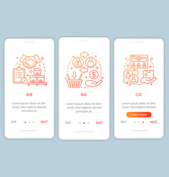 Market types onboarding mobile app page screen vector