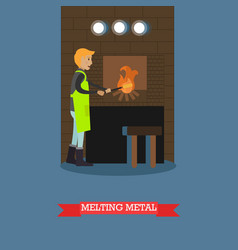 Melting metal in flat style vector