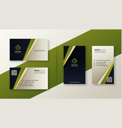 modern green stylish business card design vector image