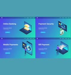 online banking lp templates vector image