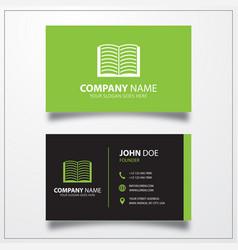 Open book icon business card template vector