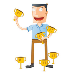 outstanding student hold trophies vector image