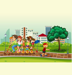 people at the urban park vector image