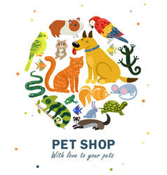 Pet shop round composition vector