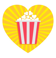 popcorn heart shape i love movie cinema icon in vector image