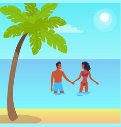poster of happy couple standing in sea vector image