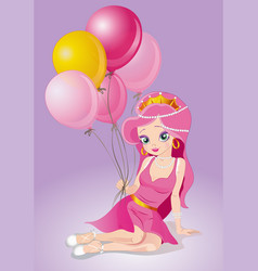 princess dreams of becoming a ballerina vector image