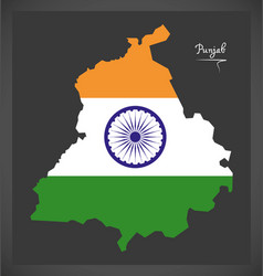 Punjab map with indian national flag vector