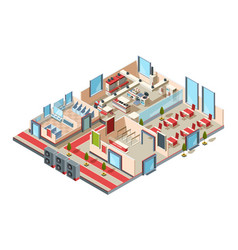 restaurant interior cafe kitchen hall toilets and vector image