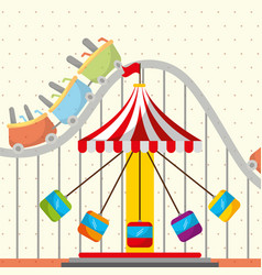 roller coaster chair carousel carnival fun fair vector image
