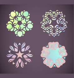 round rainbow gradient mandalas floral vector image