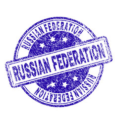 Scratched textured russian federation stamp seal vector