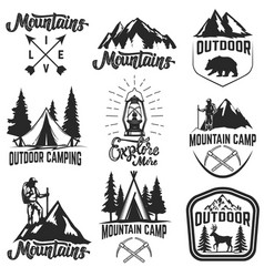 set mountain camp emblems outdoor vector image