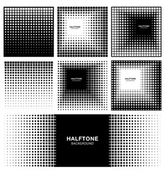 Set of Abstract Halftone Square Backgrounds vector