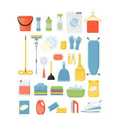 set of differend cleaning and laundry tools vector image