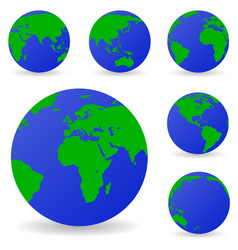 set of globe icons showing earth with all vector image