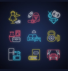 shopping mall categories neon light icons set vector image
