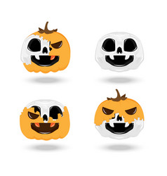 Skull pumpkin halloween vector
