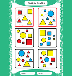 sort by shapes sorting game group by shapes vector image