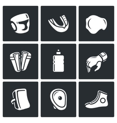 Sports equipment for martial arts icons set vector