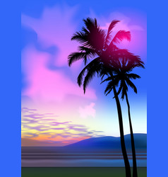 Summer tropical beach background with palms sky vector
