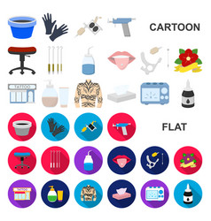 tattoo drawing on the body cartoon icons in set vector image