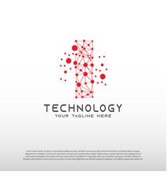 Technology logo with initial i letter network vector