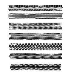 Tire prints black car tyres track grunge marks vector