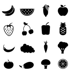 vegetable and fruit icons vector image vector image