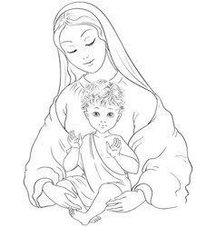 Virgin mary with child jesus cartoon coloring page vector