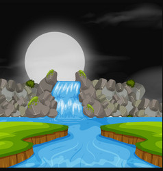 waterfall landscape at night vector image