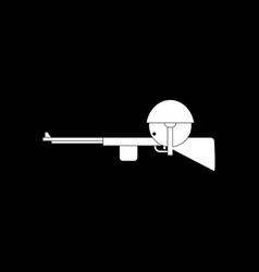 White icon on black background soldier with rifle vector