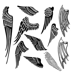 Wings set linear silhouette vector